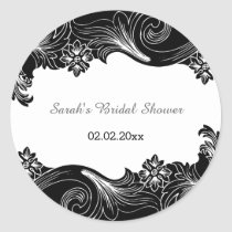 black and white floral Personalized stickers