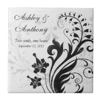 Black and White Floral Personalized Wedding Tile