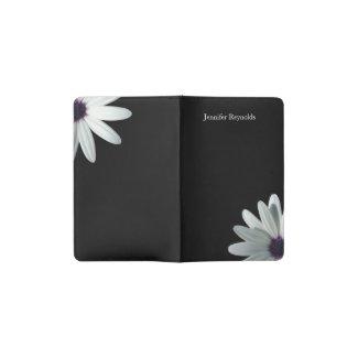Black and White Floral Photo Pocket Moleskine Notebook