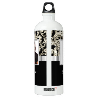 black and white floral photo template aluminum water bottle