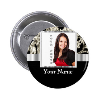 black and white floral photo template button