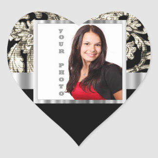 black and white floral photo template heart sticker