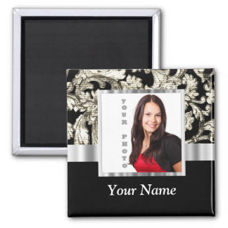 black and white floral photo template magnet