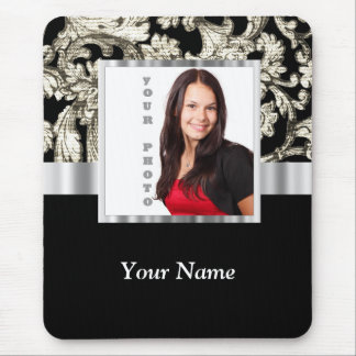 black and white floral photo template mouse pad