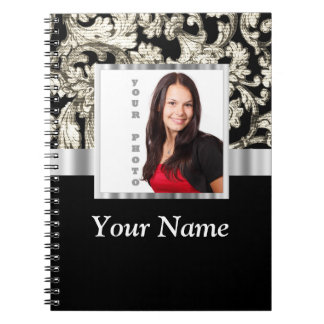 black and white floral photo template notebook