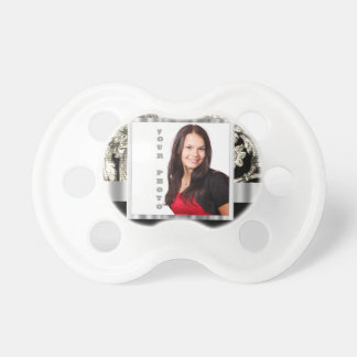 black and white floral photo template pacifier
