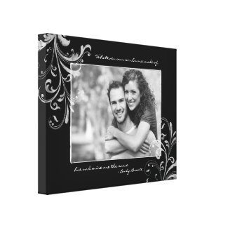 Black and White Floral Photo Template Picture wrappedcanvas
