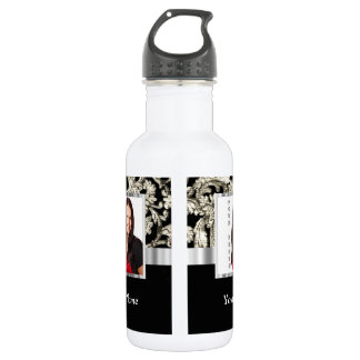black and white floral photo template water bottle