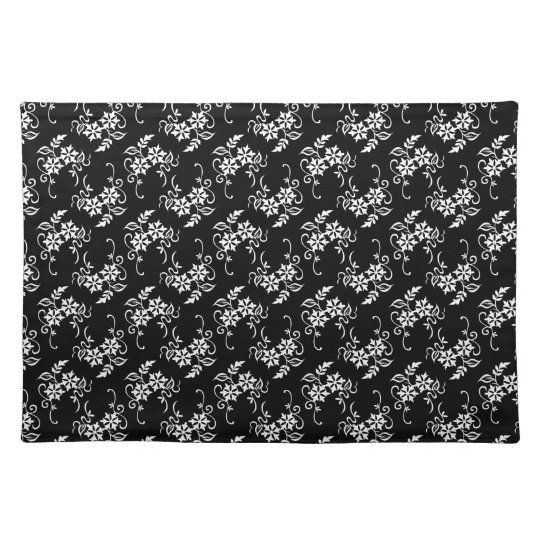 Black and white Floral Placemat
