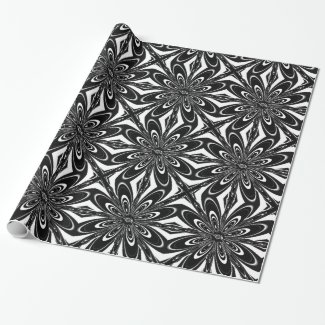Black and White Floral Print Wrapping Paper