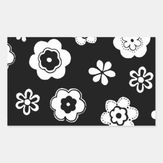 Black And White Floral Rectangular Sticker