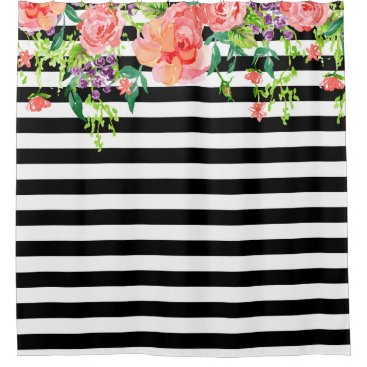 luxuryweddings Black and White Floral Roses Watercolor art Stripe Shower Curtain