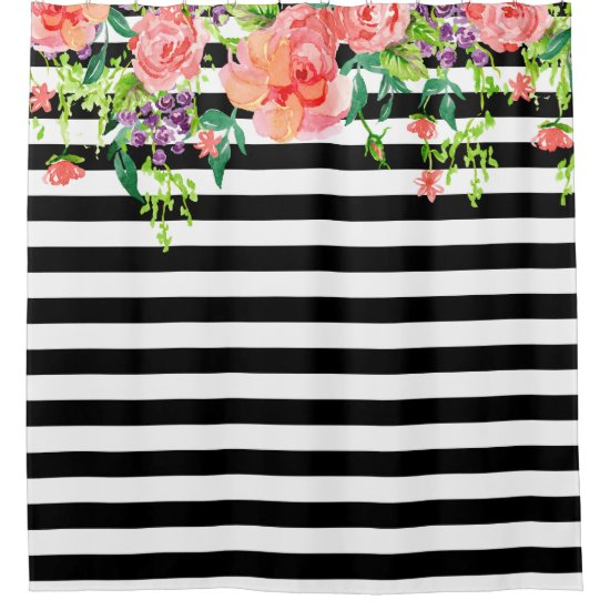 Black and White Floral Roses Watercolor art Stripe Shower Curtain