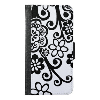 Black and White Floral Samsung Galaxy S6 Wallet Case