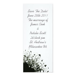 """Black and White Floral """"Save the Date"""" invite"""