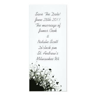 "Black and White Floral ""Save the Date"" invite 4"" X 9.25"" Invitation Card"