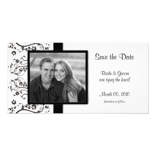 Black and White Floral Save the Date Photo Cards