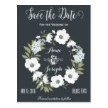 Black and White Floral Save the Date Postcard