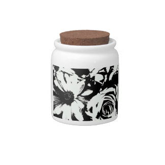 Black and White Floral Storage Jar Candy Dishes