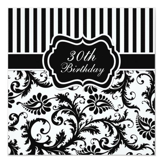 Black and white floral stripe 30th birthday invite zazzle black and white floral stripe 30th birthday invite filmwisefo
