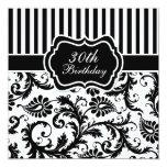 """Black and White Floral Stripe 30th Birthday Invite 5.25"""" Square Invitation Card"""