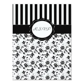 Black and White Floral Stripe R.S.V.P. Card