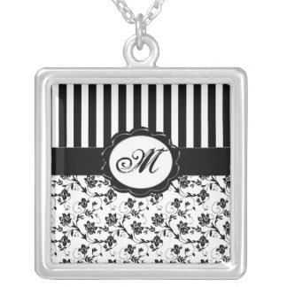 Black and white Floral Striped Monogram Necklace