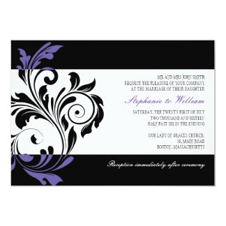 Black and White Floral Swirl Wedding Invitation