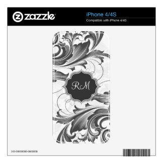 Black And White Floral Swirls Pattern-Monogram iPhone 4S Decal