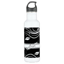 Black and White Floral Swirls Stainless Steel Water Bottle