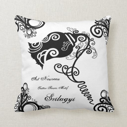 Black And White Floral Swirls Throw Pillow Zazzle
