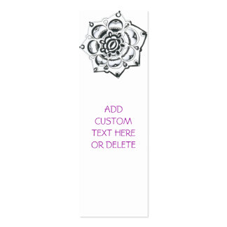 Black and White Floral Symmetry Mini Business Card