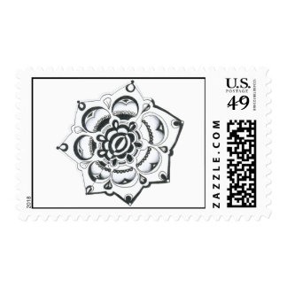 Black and White Floral Symmetry Postage Stamp