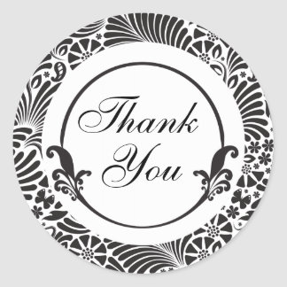 Black and White Floral Thank You Classic Round Sticker