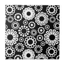 Black and white floral Tile