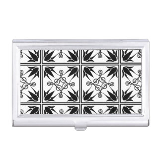 Black and White Floral Tile Scroll Pattern Business Card Holder