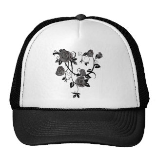 Black And White Floral Trucker Hat