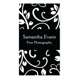 Black and White Floral Vine Business Card