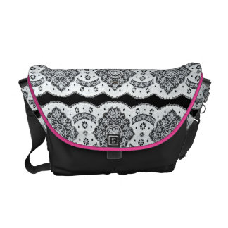Black And White Floral Vintage Lace Courier Bag