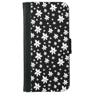 Black and White Floral Wallet Phone Case For iPhone 6/6s
