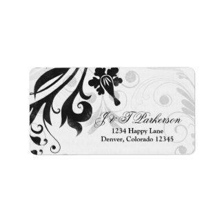 Black and White Floral Wedding Address Label label