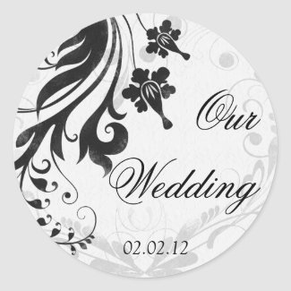 Black and White Floral Wedding Envelope Seal sticker