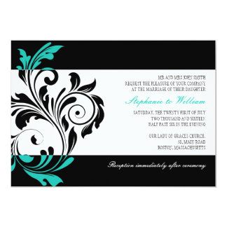 Black and White Floral Wedding Invitation in Aqua