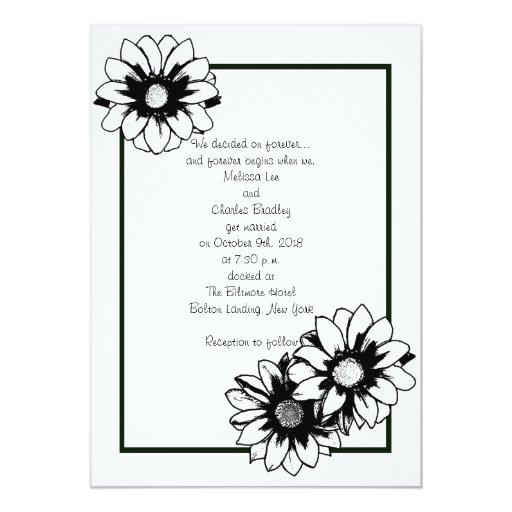 "Black and White Floral Wedding Invitations 5"" X 7"" Invitation Card"