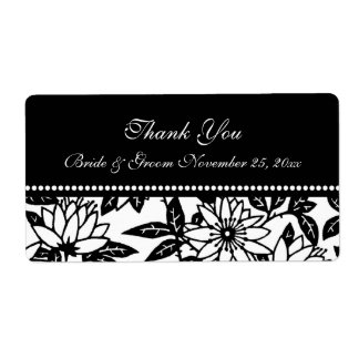 Black and White Floral Wedding Labels
