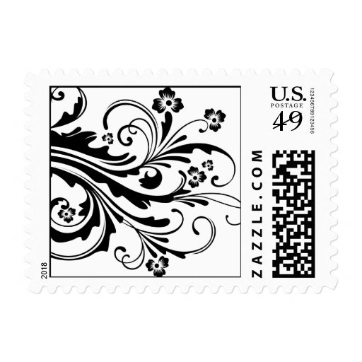 Black and White Floral Wedding Postage Stamp