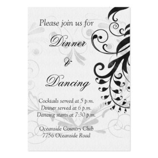 Black and White Floral Wedding Reception Card
