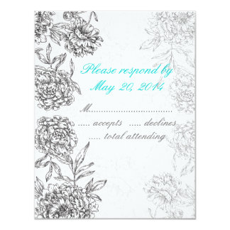 Black and White Floral Wedding RSVP Card Aqua Blue Custom Invitation