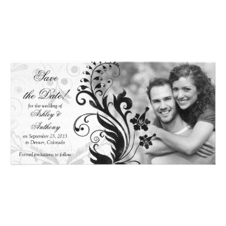 Black and White Floral Wedding Save the Date Photo Card