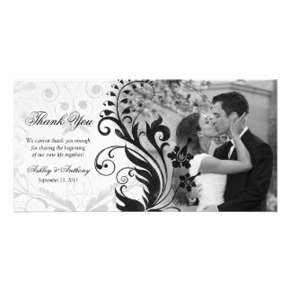 Black and White Floral Wedding Thank You Photocard Photo Card